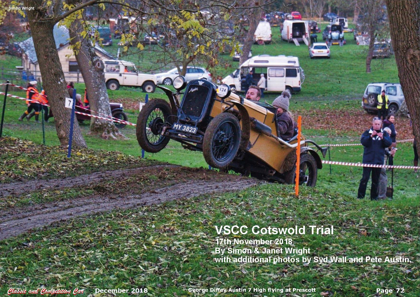 The VSCC Cotswold Trial Featured in the December issue of Classic and Competition Car  cover